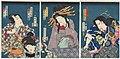 Utagawa Kunisada II - Actors Kawarazaki Gonjûrô I as the Dance Teacher Shinonome, Kawarazaki Kunitarô I as the Living Ghost of Akogi, Iwai Shijaku II as Tasogare, and Bandô Hikosaburô V as Ashikaga Mitsuuji.jpg