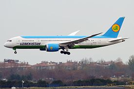 Uzbekistan Airways, UK78701, Boeing 787-8 Dreamliner (31591515570).jpg
