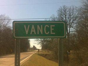Vance, Mississippi - Image: Vance Highway Sign