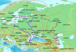 Caspian expeditions of the Rus' - Map showing the major Varangian trade routes: the Volga trade route (in red) and the Trade Route from the Varangians to the Greeks (in purple). Other trade routes of the 8th–11th centuries shown in orange.