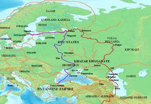 Мапа која показује главне трговачке