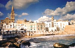 View of Monopoli from the city beach of Cala Porta Vecchia