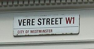 Vere Street, Westminster - Image: Vere Street Westminster Road Sign