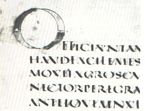 Vergilius Augusteus - An initial O from the Vatican Library fragment of the Vergileus Augusteus.