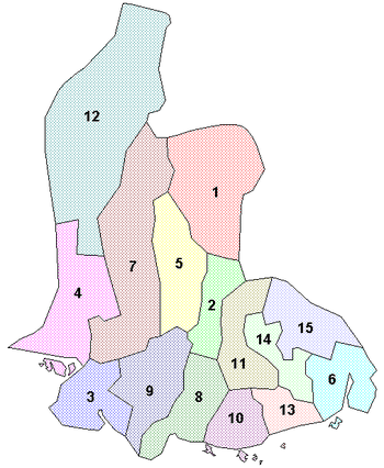Location of Vest-Agder Municipalities