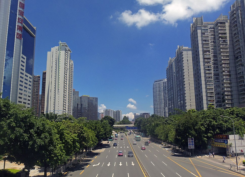 View east along Sungang East Road from Renmin North Road, Shenzhen, China