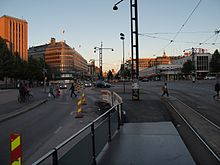 View from temporary tram stop on Mannerheimintie, Helsinki in July 2014.jpg