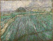 A squarish painting of a wheatfield in a dense pouring rain.
