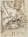 Vincent van Gogh. Café Terrace at Night. 1888. Reed pen and ink over pencil on laid paper, (65.4 x 47.1 cm). Dallas Museum of Art.jpg