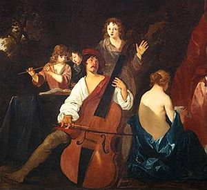 Viol - Violone or great bass viol. Painting by Sir Peter Lely, c. 1640, Dutch-born English Baroque era painter. Note the Italianate shape, square shoulders, and F-holes, apart from its massive size.