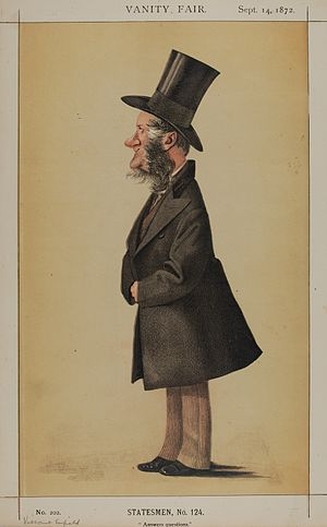 """George Byng, 3rd Earl of Strafford - """"Answers questions"""" Viscount Enfield as caricatured by Adriano Cecioni in Vanity Fair. September 1872"""