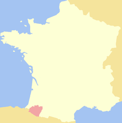 Map showing the Viscounty of Béarn.