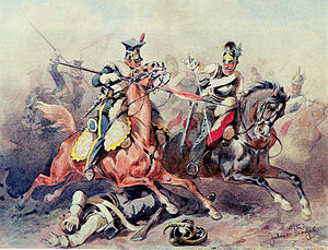 Lancer - Polish Vistula lancer and Austrian cuirassier in close combat or mêlée