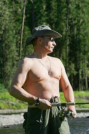 Public image of Vladimir Putin - Vladimir Putin in Tuva, fishing in 2007. Putin often presents a tough guy image in the media.