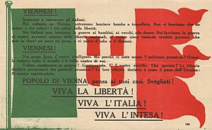 Corpo Aeronautico Militare - Italian propaganda leaflet that Italian poet Gabriele d'Annunzio threw from his (Ansaldo SVA) airplane during his Flight over Vienna