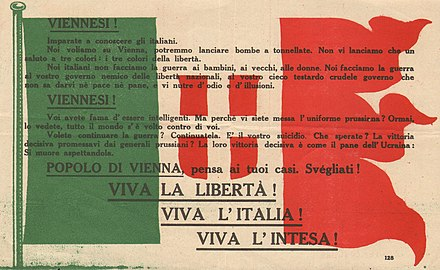 Italian propaganda dropped over Vienna by Gabriele D'Annunzio in 1918