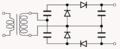 Voltage quadrupler – two Greinacher cells of opposite polarities.png