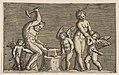 Vulcan seated hammering on an anvil flanked by Venus and three cupids MET DP818617.jpg