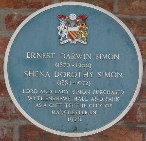 Ernest Simon, 1st Baron Simon of Wythenshawe - ...as commemorated with a blue plaque.