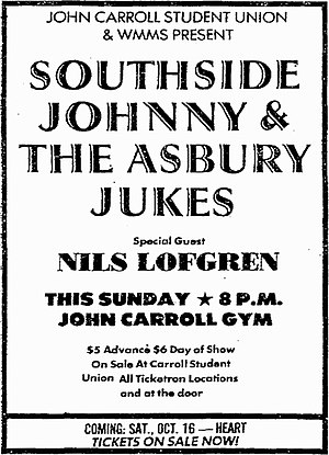Nils Lofgren - Print ad for Southside Johnny rock concert featuring Lofgren as guest
