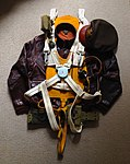 WWII USAAF Observer parachute harness with B-4 Mae West A-2 jacket officer's cap.jpg