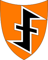 An orange shield with a black wolfsangel
