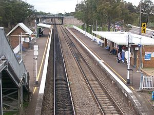 Waratah railway station, seen from footbridge.JPG