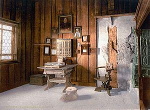 Lutherin työhuone Wartburgin linnassa.