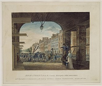 State funerals in the United States - A Birch's Views of Philadelphia sketch depicting George Washington's mock funeral procession on High Street in Philadelphia on December 26, 1799.