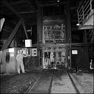 North East England - Miners in the cage ready for their descent, Monkwearmouth Colliery, 1993.