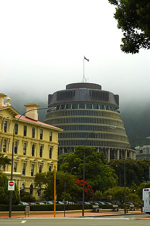 Thorndon, New Zealand - Parliament's Beehive and the old wooden administration building