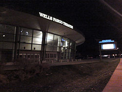 Exterior of Wells Fargo Theatre. Viewed at night from the Speer and Stout intersection