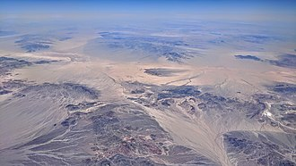 Midland, California - Aerial view of the desert area east of Joshua Tree National Park, including (at the far right) the abandoned gypsum mine Standard Mine and its associated company/ghost town of Midland, California