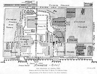 Ubicazione delle legazioni diplomatiche straniere e delle prime linee durante l'assedio di Pechino.
