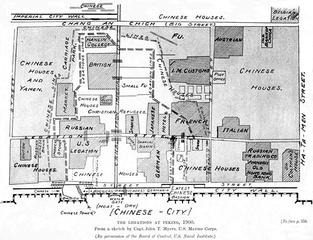 Diagram showing locations of foreign diplomatic legations in the Beijing Legation Quarter during the Boxer siege, 1900