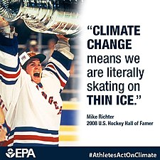 Whether you play outside or at the rink, climate change is going to impact your sport. What are you doing to green your game? http---blog.epa.gov-greeningtheapple-2015-01-a-chat-about-the-environment-with-mike-richter- (16496527135).jpg