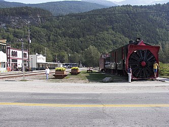 White Pass and Yukon Railroad Depot with rotary snowplow in Skagway, Alaska.jpg