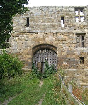 Whorlton Castle - Image: Whorlton Castle gatehouse east entrance