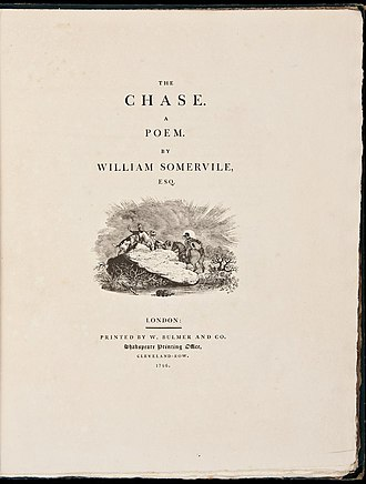 Bulmer (typeface) - William Somervile's The Chase, printed by William Bulmer in around 1796.