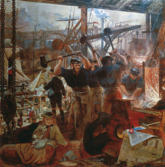 Industrial Age - Iron and Coal, 1855–60, by William Bell Scott illustrates the rise of coal and iron working in the Industrial Revolution and the heavy engineering projects they made possible.