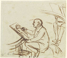 balding man sketching a naked figure
