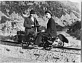 William Williams on a railway jigger, rabbit hunting in Otago, ca 1900 (3056669963).jpg