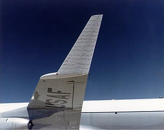 Wingtip device - Winglet on KC-135 Stratotanker with attached tufts showing airflow during NASA tests in 1979–1980
