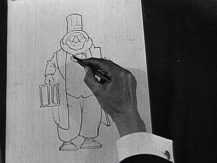 Dip pens have traditionally been a popular drawing tool for cartoonists Winsor McCay - Little Nemo film still - drawing.jpg