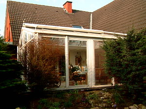 "Sunroom - A German ""Wintergarten"" with open blinds and anemometer (top left)"