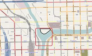 Wolf Point South Tower - Map depicting Wolf Point (area owned by the Kennedy family in black, with approximate area of the historical Wolf Point settlement in red)