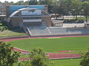 Woodbury Junior-Senior High School - A bird's-eye view of the Woodbury High School football stadium.