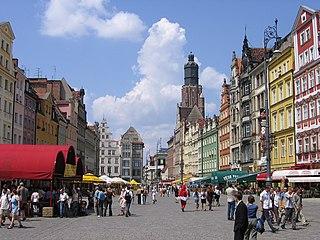 sklepy i ulica  we Wrocławiu