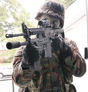 M26 Modular Accessory Shotgun System - Soldier with M26 MASS.