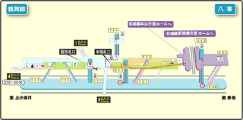 Yagoto station map Nagoya subway's Tsurumai line 2014.png